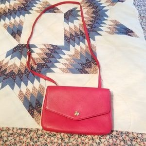 Talbots Genuine Leather Red Satchel w/ gold buckle